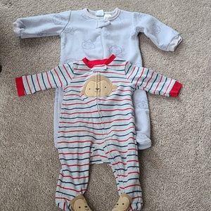 Baby Boy Animal Sleepers Bundle 0-3 Month Bundle